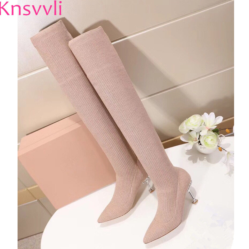 Autumm New Style Tighten Stretch Boots Women Pointy Toe High Heel Knit Boots Crystal Studded Over The Knee Sock Boots Ladies black stretch fabric suede over the knee open toe knit boots cut out heel thigh high boots in beige knit elastic sock long boots