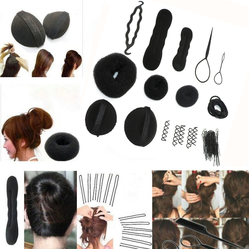 1Set DIY Hair Styling Accessories Tools Kit Set Hair Bun Maker ...