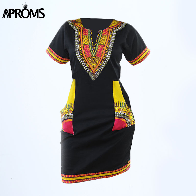 c63f2929523 Aproms Women Summer Bodycon Dress 2018 Robe Sexy Casual Sundress Plus Size  Clothing Vintage African Print