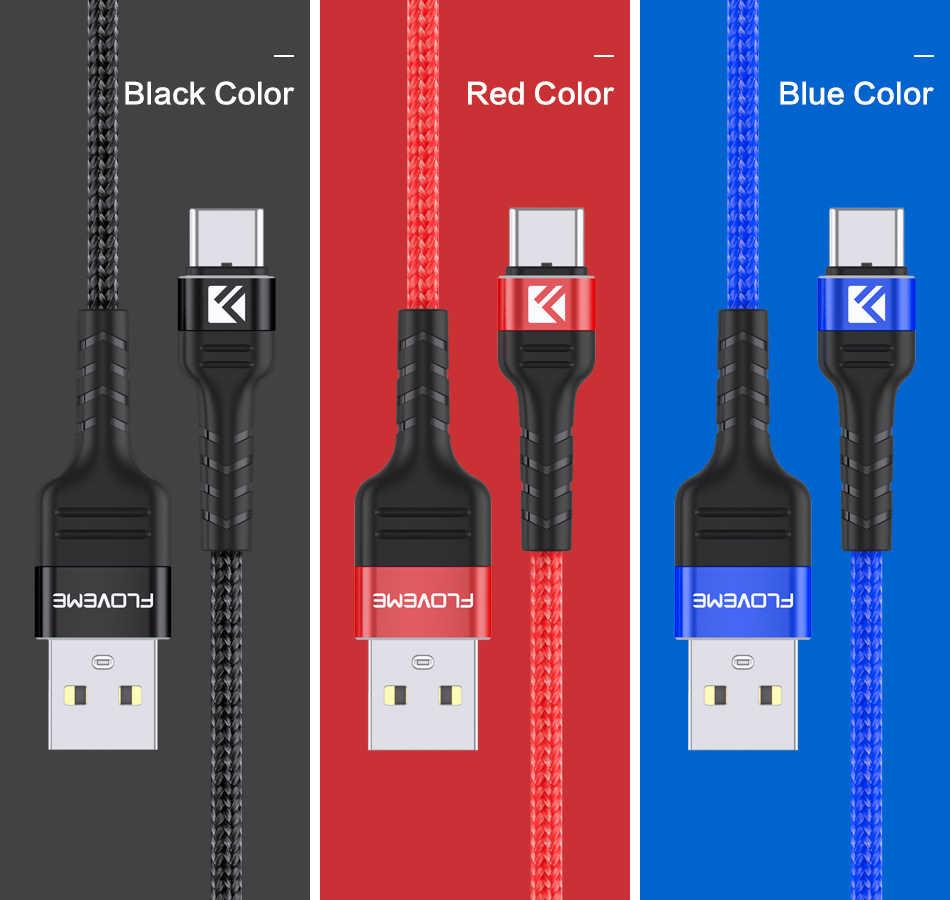 Floveme Cáp USB Type C Dành Cho Xiaomi Sạc Nhanh 3.0 Cáp USB Cho Samsung S10 S9 Di Động Sạc Điện Thoại Dây