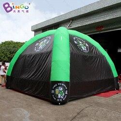 Darmowa wysyłka 7 metrów nadmuchiwany namiot kopułowy z 4 filary dostosowane logo czarny i zielony namiot pajączkowy do promocji zabawki namioty