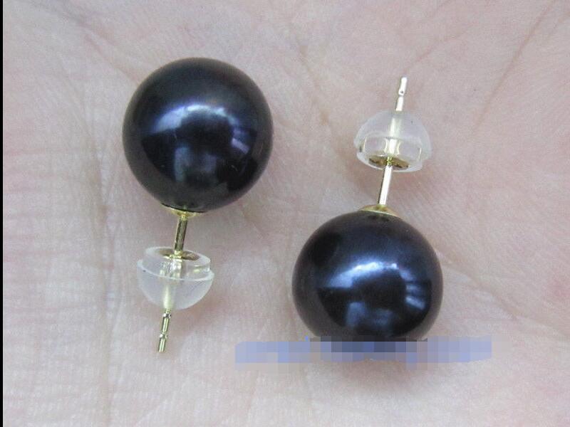 10x10 bijoux livraison gratuite mode AAA + + + 10-10.5mm noir mer du sud perle boucles d'oreilles avec 18 k