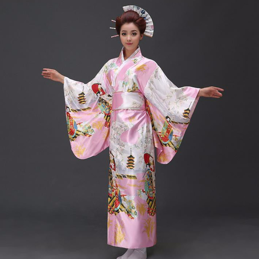Fashionable Women Floral Kimono Sexy Romantic Yukata With Obi Vintage Party Dress Japanese Cosplay Costume One Size