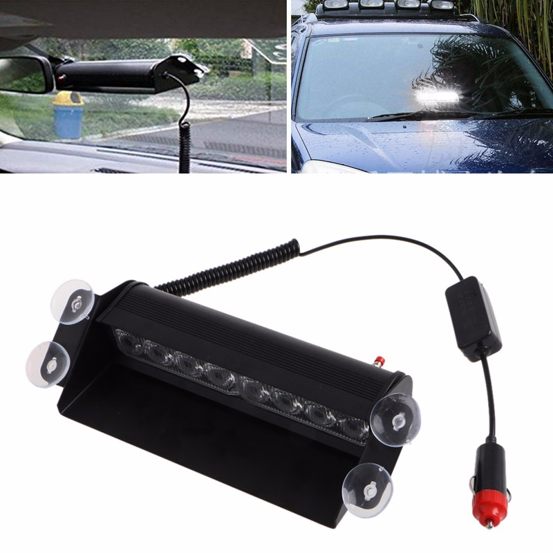 8 Led Flash Boat Truck Car Flashing Warning Emergency Windshield Unit 3 Mode Police Strobe Light