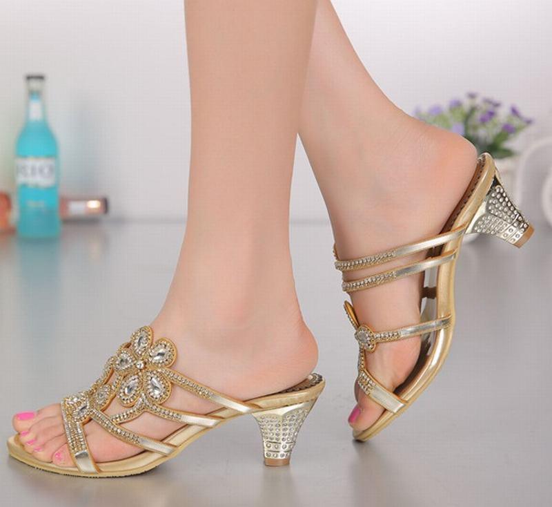 Новая мода рим гладиатор толстые на высоком каблуке тапочки цветы горный хрусталь кристалл каблуки сексуальные открытым носком тапочки партийные свадебные туфли - 5
