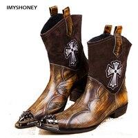 Персонализированные Дизайн ручной работы Для мужчин Новый стиль обувь западный ковбой Стиль Для мужчин сапоги из натуральной кожи