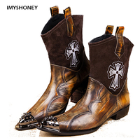 Personalized Design Handmade Men New Style Shoes West Cowboy Style Men S Boots Genuine Leather