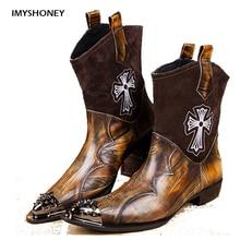 Индивидуальный Дизайн Ручной Работы Мужчины Новый Стиль Обувь Запад Ковбой Стиль мужские Ботинки Из Натуральной Кожи