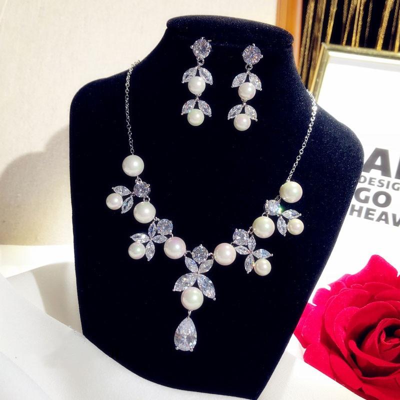 Ensembles de bijoux fins pour femmes luxe Vintage perles d'eau douce zircon cubique boucles d'oreilles collier pendentif de mariée mariage Bijox - 3
