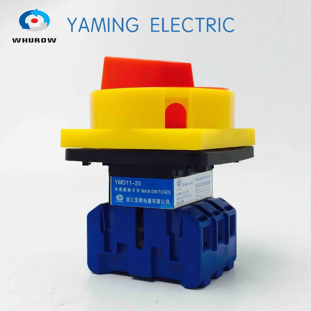 YMD11-25A 3P Isolator switch padlock Disconnect switch with door inter-lock function,main switch,ON-OFF