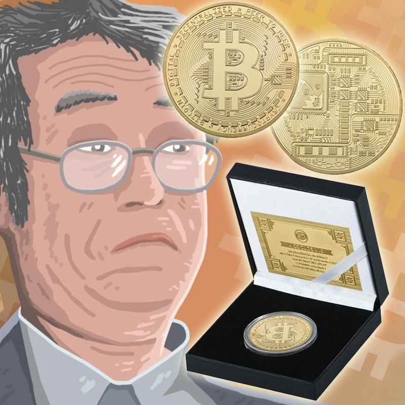WR Bitcoin Moneda de Oro Chapado Desafío Moneda con Caja de Regalo de Calidad de Seda Carretera Bitcoin Monedas de Colección de Oro para Los Regalos de Cumpleaños