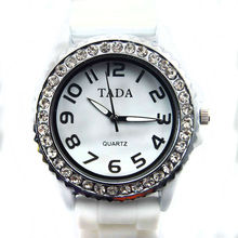 TADA women's elegant rhinestone watch fashion arab quartz wrist watch 11 colors jelly silicone rubber ladies bracelet watch gift