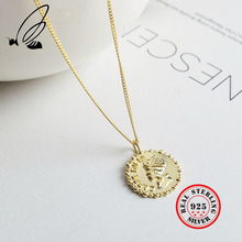Portrait Coin Pendant Necklace 925 Sterling Silver Gold Chain Female Male Statement Necklaces For Women Vintage Jewelry Gift