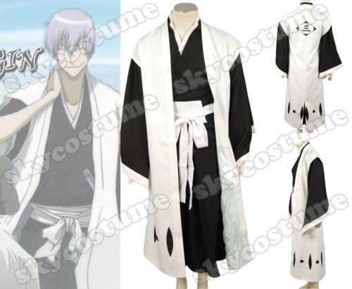 Bleach 3rd Division Captain Ichimaru Gin Cosplay Costume Cloak Pants Belts