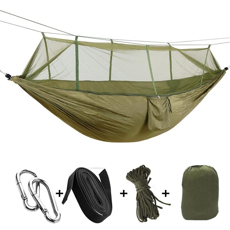 Outdoor Hammock Mosquito Net Parachute Hammock Camping Hanging Sleeping Bed Swing Portable Double Hammock  Blue Pink