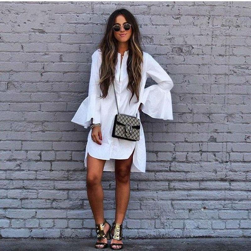 High quality white chiffon long shirts solid flare sleeve for Womens white shirts high quality