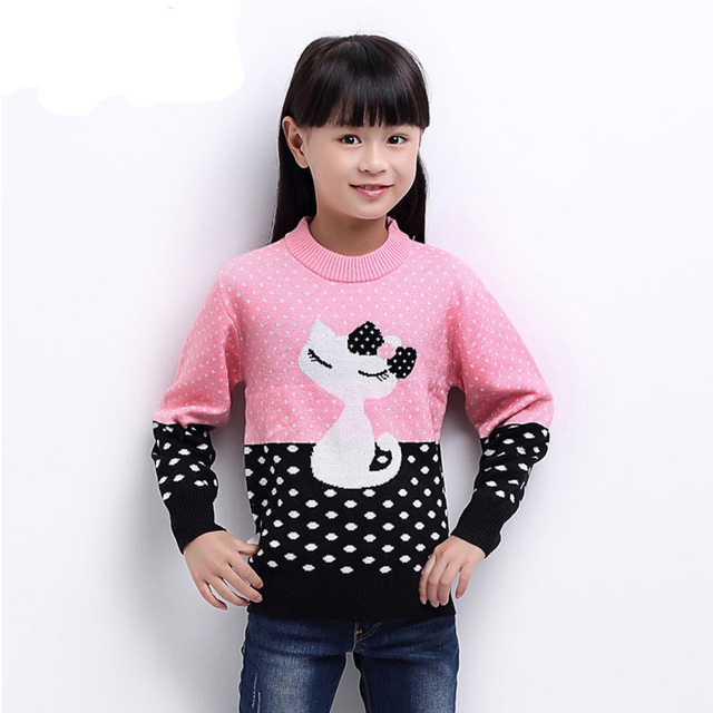 Novo 2017 primavera outono bebê dos desenhos animados de algodão doce menina camisola crianças roupas de malha camisola do pulôver roupas para a menina