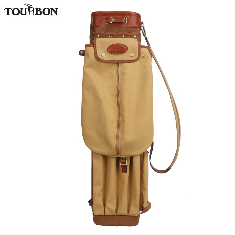 Tourbon Vintage Golf Club Bag Carrier Pencil Style Canvas & Leather Golf Gun Bags W/Pockets Clubs Interlayer Cover 90CM