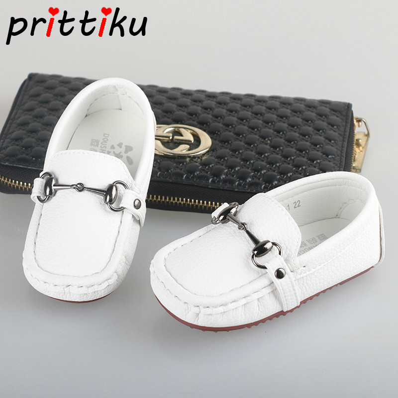 f289ba0c301 2018 Baby Toddler Boy Girl Leather Classic Loafers Little Kid Black White  Casual Flats Children Fashion Brand Formal Dress Shoes