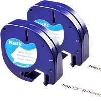 2 compatível dymo letratag 91201 preto em branco (12mm x 4 m) fitas de etiquetas de plástico para LT-100H, LT-100T, LT-110T, qx 50, xr, xm,