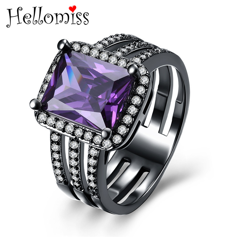 Antique Black Gold Color Square Rings for Women 3 Row Ring with Cubic Zirconia Crystal Stone Jewelry Gift for Girl Anelli Donna