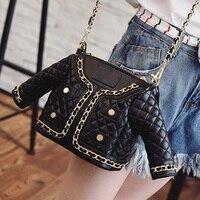 متعة شخصية الموضة عارضة سترة سوداء تصميم مبطن سلسلة حقيبة يد المرأة الكتف عبر الجسم رسول حقيبة محفظة