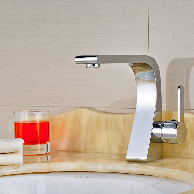 Chrome Polish Deck Mounted Bathroom Faucet Hot&Cold Water Mixer Tap Single Hole стоимость