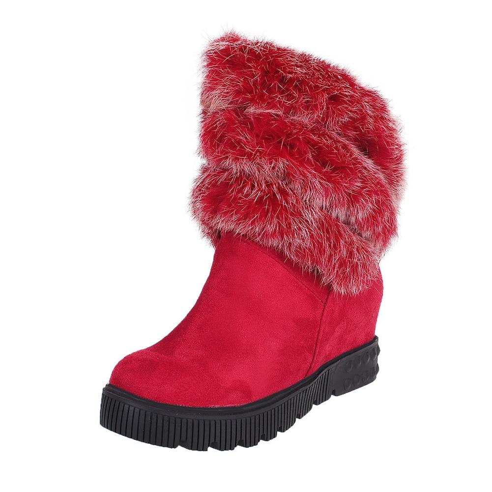 34 rojo Mujer Tamaño Lapolaka Mujeres Zapatos La 43 Para Gran Negro Botas Invierno Dropship Conejo Tobillo Rusia Piel 2018 De khaki Las Nieve 6BnwnCxIp