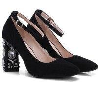Новые Бархатные Цветочные вечерние свадебные туфли женские туфли на высоком каблуке Роскошные полые высокий каблук со стразами толстом ка