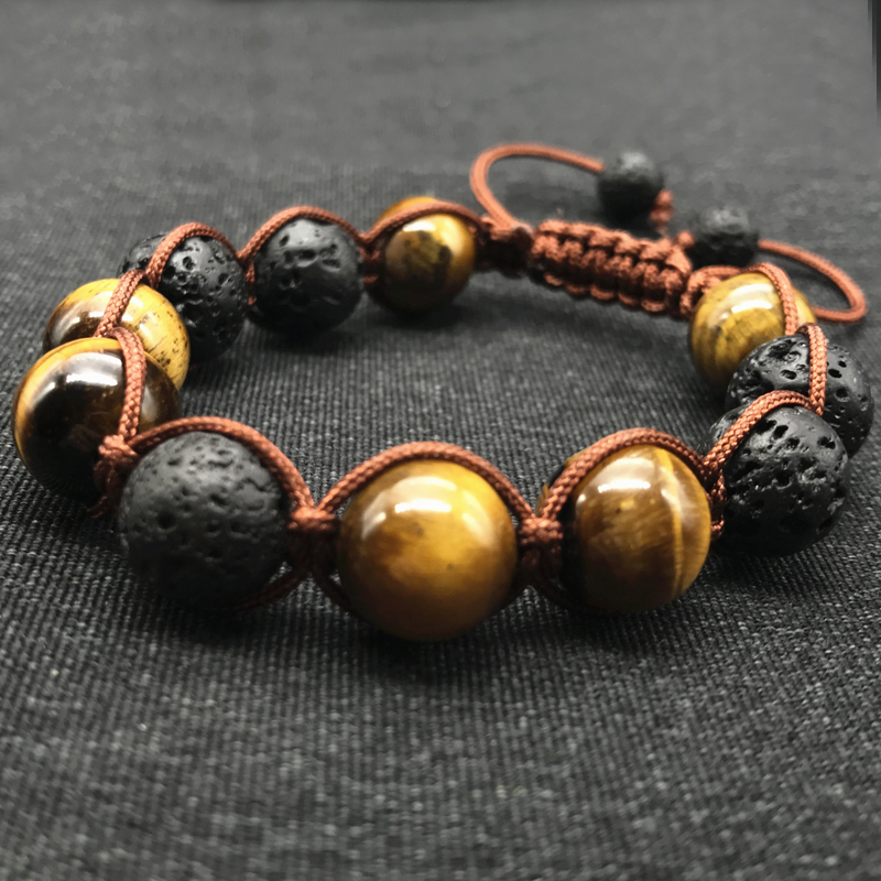 Wholesale Black Volcanic Lava Stone Tiger Eye 12mm Beaded bracelet For Men Brading Macrame Men girl Bracelets Fashion Jewelry new men bracelet 8mm tiger eye stone