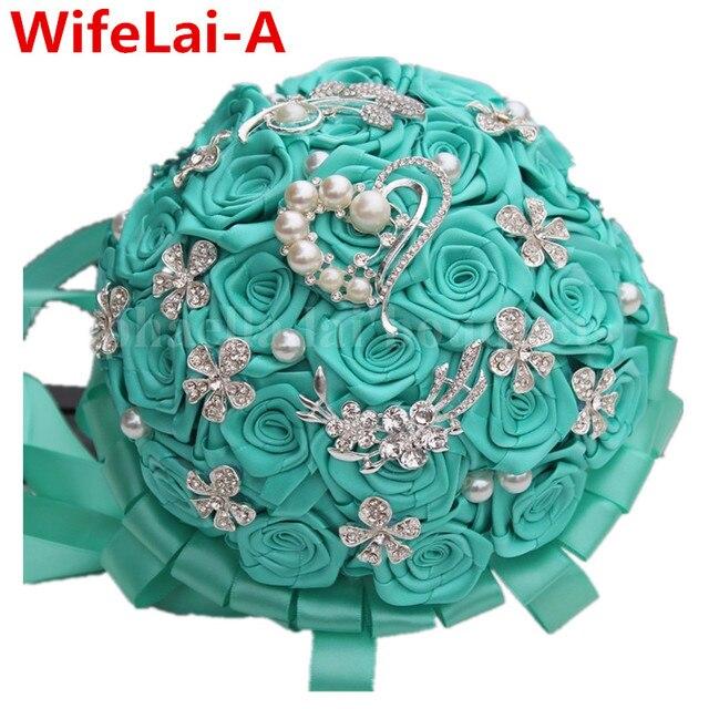 Роскошный Зеленый Кристалл Свадебные Букеты 100% Ручной Прочный Холдинг Искусственные Цветы Бриллиантовая Брошь Жемчуг Свадебные Букеты W125