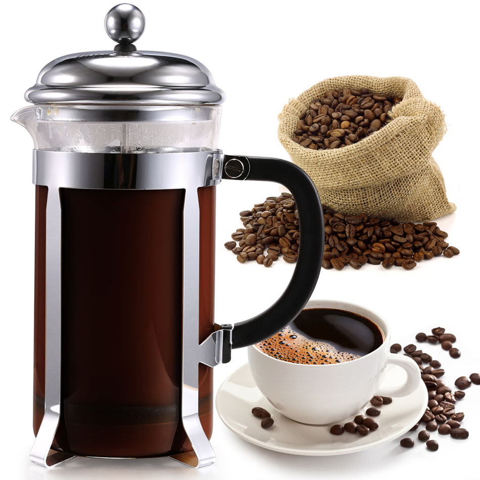 1000ml french style press coffee tea maker coffess press pot stainless steel glass coffee tea. Black Bedroom Furniture Sets. Home Design Ideas