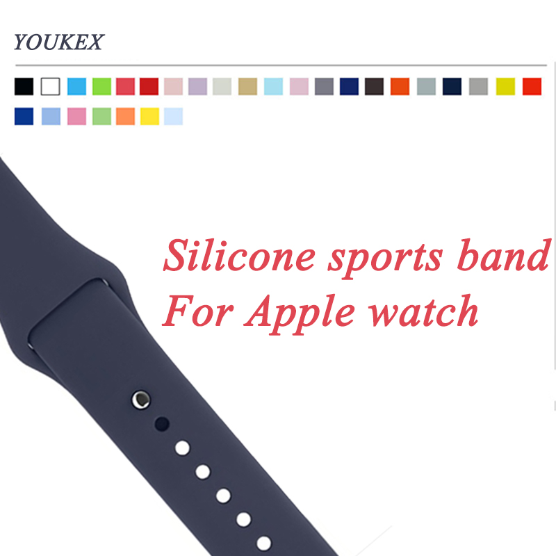 YOUKEX silicone band for apple watch 38mm 42mm replacement sport bracelet wrist strap for women and men iwatch series1 series2 eache silicone watch band strap replacement watch band can fit for swatch 17mm 19mm men women