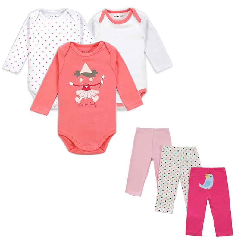 Mother Nest Brand 6 PCS Set Baby Girl Clothing Set Lång Ärmar Baby Wear Vår Höst Casual 100% Bomull Set Romper + Byxor