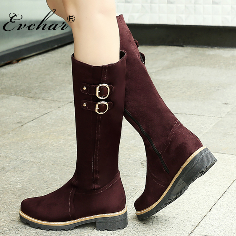 EVCHAR women boots fashion popular buckle solid zipper flock round toe med heels shoes autumn mid calf snow boots big size 33-43