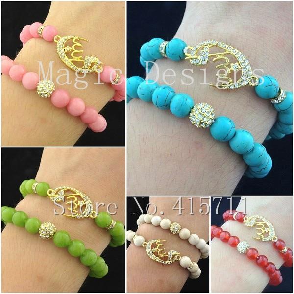 YH-AB28 Islamic Fashion Jewelry Muslim Allah Bracelet Set With Howlite / Jadee / Riverstone Fossil / Red  Agat Beads