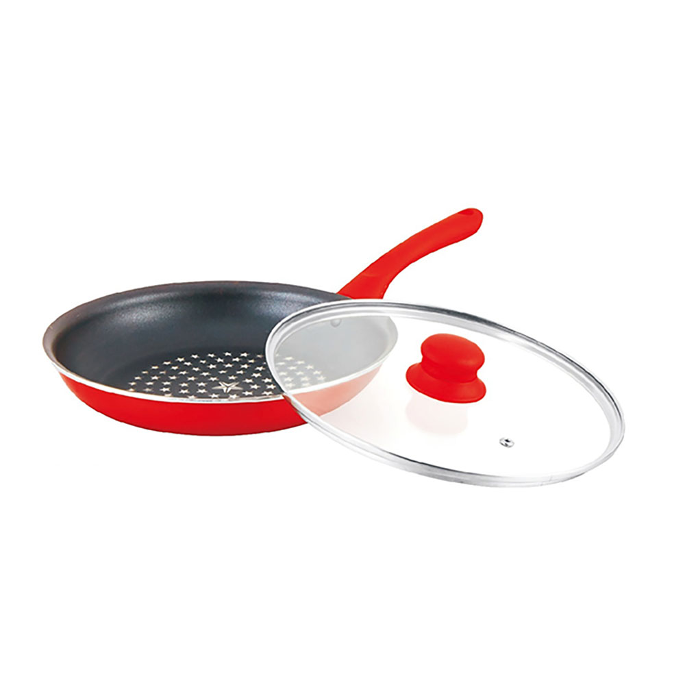 3 Sizes Aluminum Frying Pan With Non-stick Coating And Glass Lid For Induction Cooker