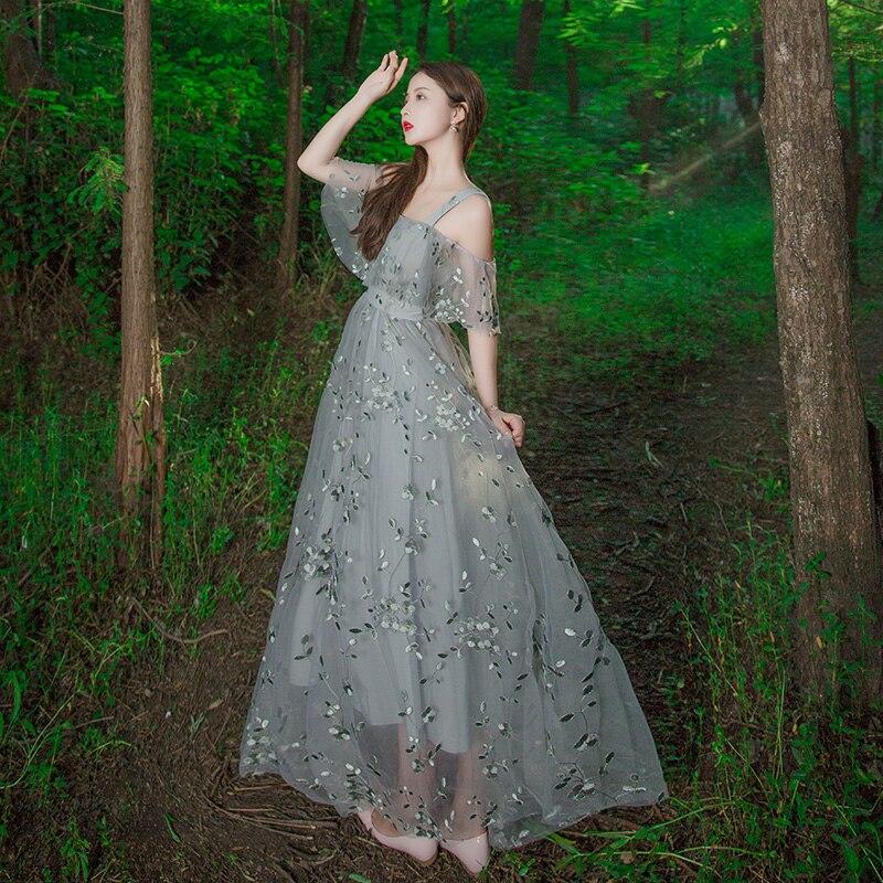 100%real luxury light grey flower leaf embroidery slash collar ruffled long medieval dress Victorian cosplay/seashore photoshoot