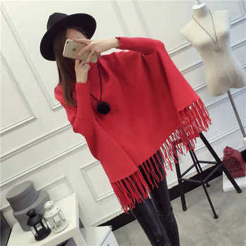 2017 Winter Women Turtleneck Pullover Korean Fashion Plus Size Loose wool Batwing Sweater Ladies Knitted Ponchos and Capes Coat