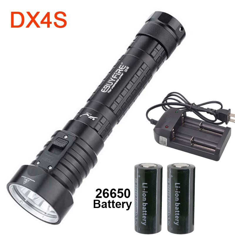 3200LM CREE 4x L2 LED Diving DX4S Flashlight underwater 26650 Torch Brightness Waterproof 100m Dive lights underwater 100m diving flashlight 8000 lumen 5x cree xm l l2 dive lamp torch for outdoor diving