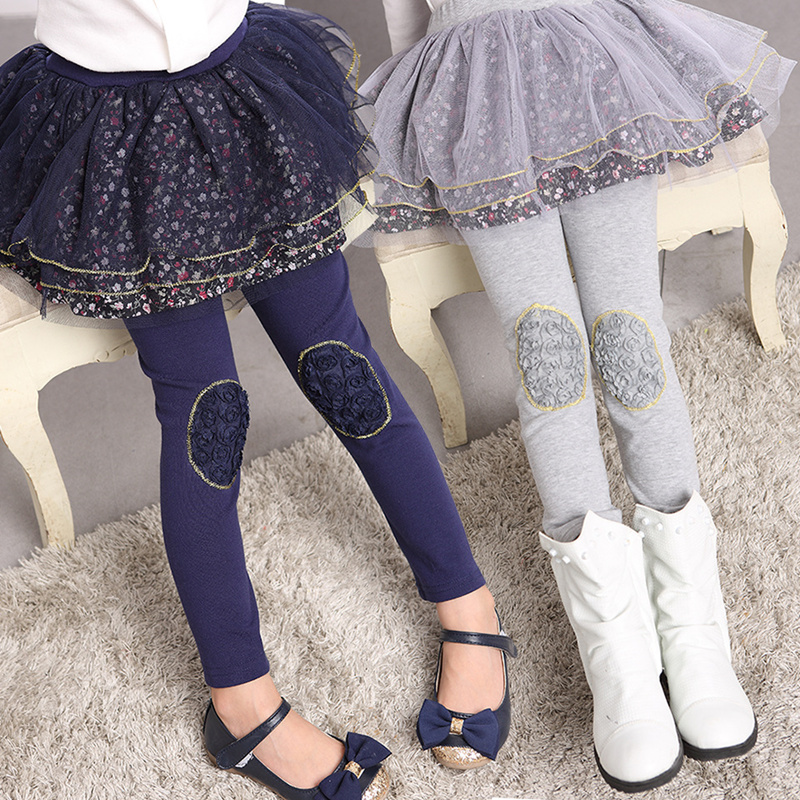 Winter Kids Leggings Print Girls Leggings Sweet Lace Leggings Skirt Cashmere Pants For Girls Princess Party Children Clothing