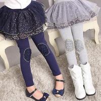 Princesse Filles Jupe Leggings Fleur de Mousseline de Soie Filles Cachemire Printemps Hiver Coton Pantalon Pour Fille Nouvelle Année Partie Enfants Vêtements