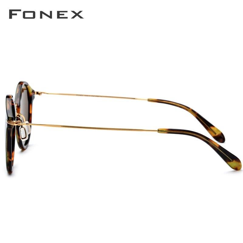 FONEX élastique B titane lunettes de soleil polarisées femmes marque Designer 2019 Vintage rond lunettes de soleil pour hommes rétro acétate lunettes de soleil - 3