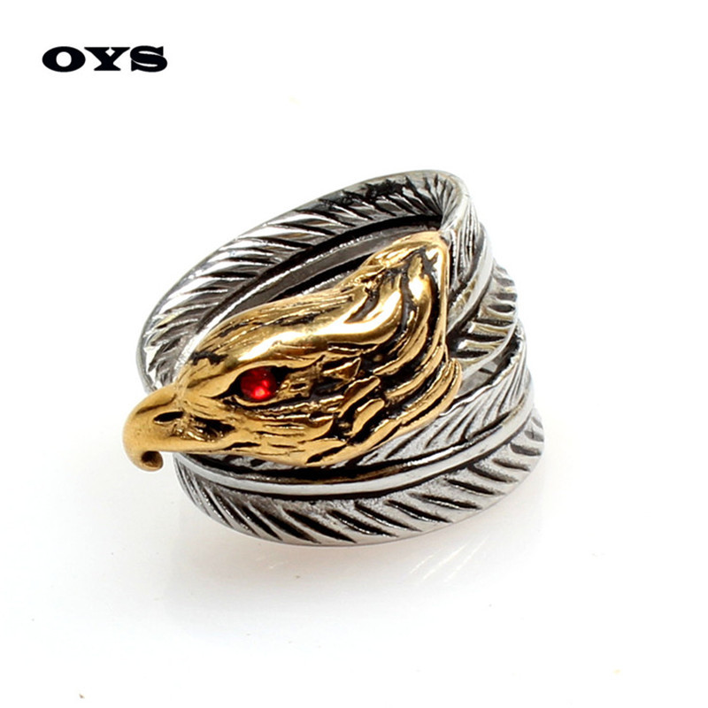 316LStainless Steel Fashion Jewelry Exclusive Red Eye Eagle Ring Retro Personality Russian Ring Men's,Gold,Silver Free Shipping