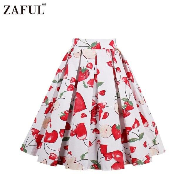ZAFUL 18 дизайн с цветочным принтом винтажные женские юбки для девочек 2017 летняя хлопковая высокой талией линии Vintage 1950 S Плиссированные Миди Юбка