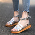 2016 новый Римского стиля женские сандалии плоским дном Из Натуральной кожи большой размер обуви черный, серебряный лето Женская Обувь