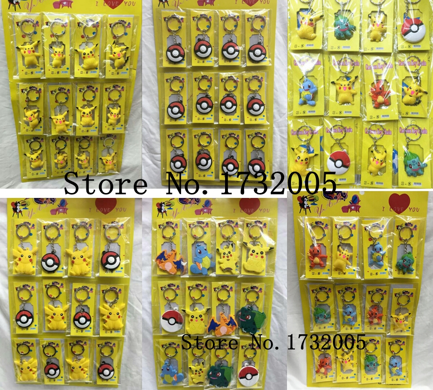 New 6 sets 12pcs set Cartoon Japanese Anime PVC Keychain Pendant Figure Model Key Chain For