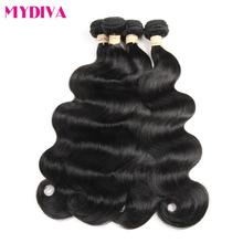 Mydiva Peruvian Body Wave 4 Bundles 100% Human Hair Weave Non Remy Hair Extensions Natural Color Can Be Dyed And Bleached