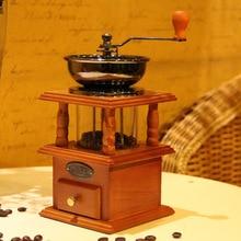 Uygun Yeni Vintage Roman Stil Manuel kahve çekirdeği değirmeni Dökme Demir Çekirdekli Değirmen, Çift Kapalı Bin ile Ahşap Durumd...