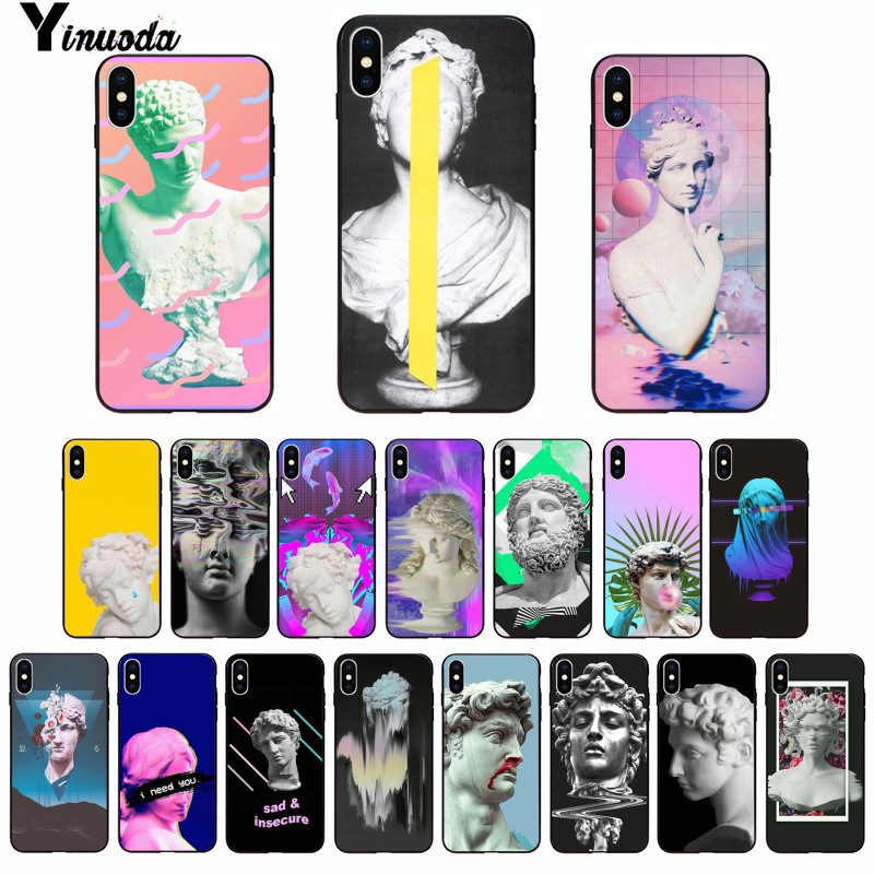 Half-wrapped Case Humor Yinuoda Mona Lisa Art David Lines Novelty Fundas Phone Case For Iphone 8 7 6 6s Plus X Xs Max 5 5s Se Xr 10 Cover